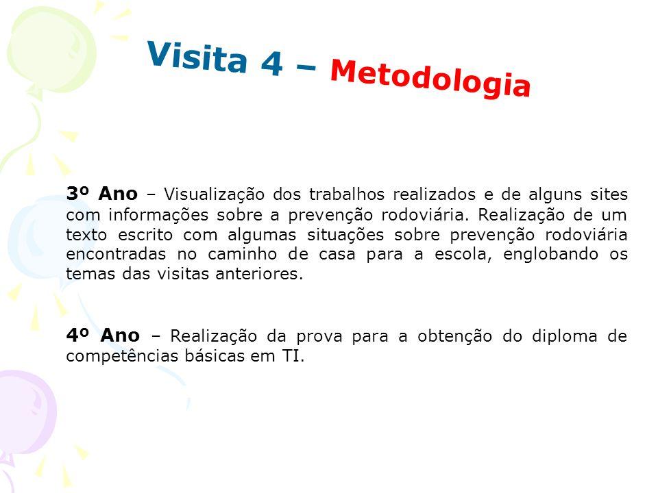 Visita 4 – Metodologia 3º Ano – Visualização dos trabalhos realizados e de alguns sites com informações sobre a prevenção rodoviária. Realização de um