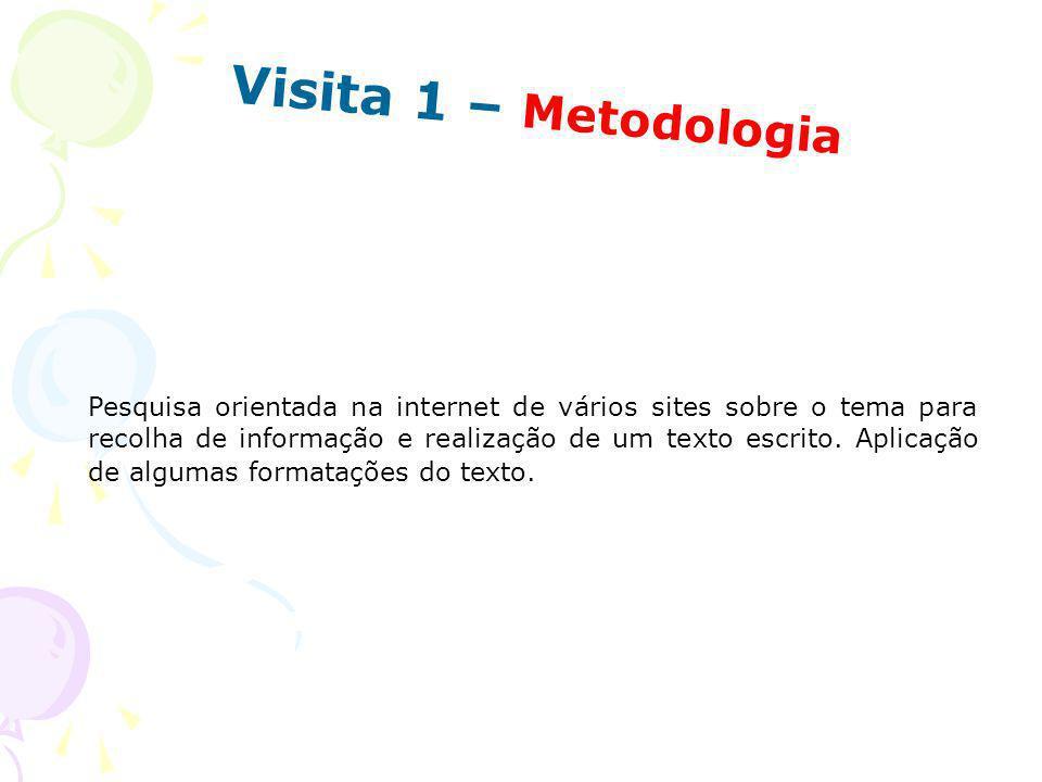 Visita 1 – Metodologia Pesquisa orientada na internet de vários sites sobre o tema para recolha de informação e realização de um texto escrito. Aplica