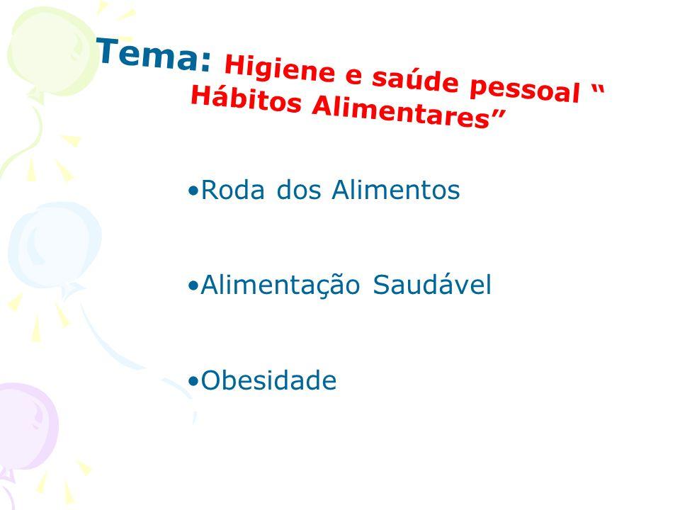 Tema: Higiene e saúde pessoal Hábitos Alimentares Roda dos Alimentos Alimentação Saudável Obesidade