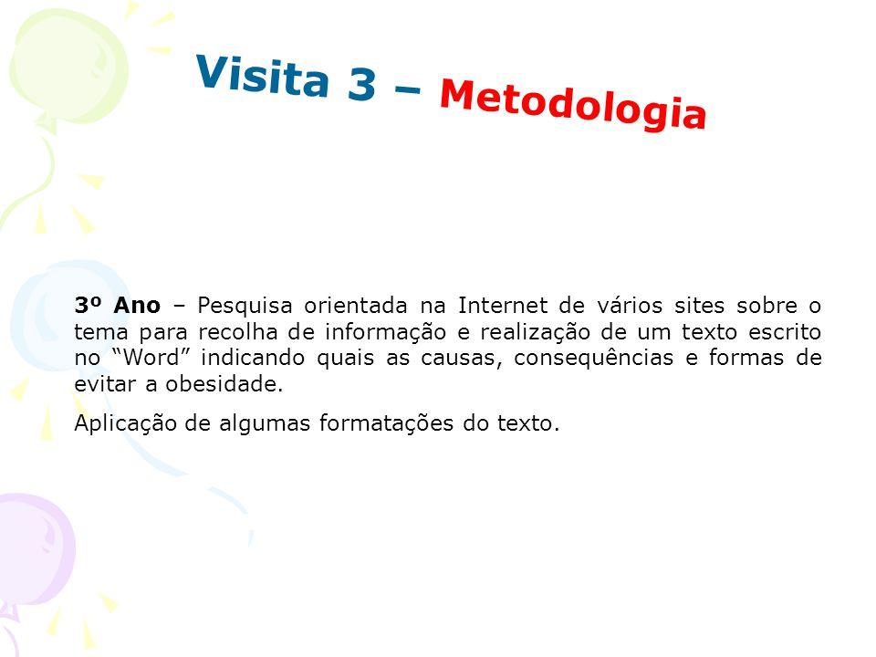 Visita 3 – Metodologia 3º Ano – Pesquisa orientada na Internet de vários sites sobre o tema para recolha de informação e realização de um texto escrit