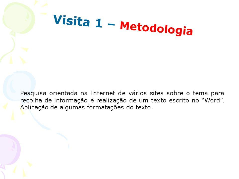 Visita 1 – Metodologia Pesquisa orientada na Internet de vários sites sobre o tema para recolha de informação e realização de um texto escrito no Word