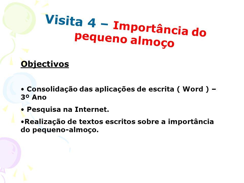 Visita 4 – Importância do pequeno almoço Objectivos Consolidação das aplicações de escrita ( Word ) – 3º Ano Pesquisa na Internet. Realização de texto