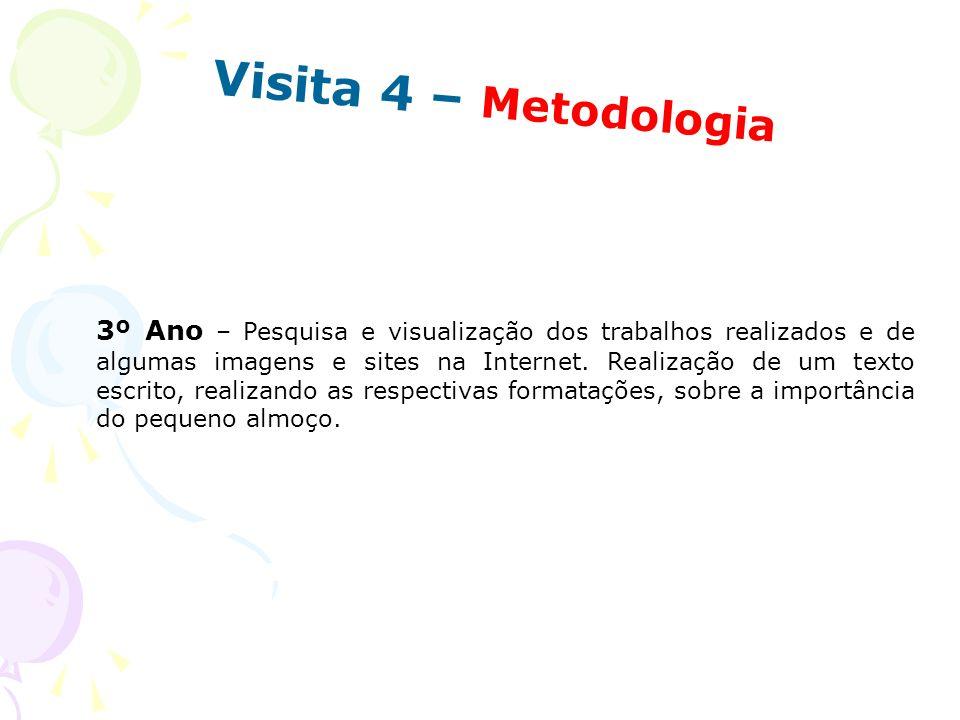 Visita 4 – Metodologia 3º Ano – Pesquisa e visualização dos trabalhos realizados e de algumas imagens e sites na Internet. Realização de um texto escr
