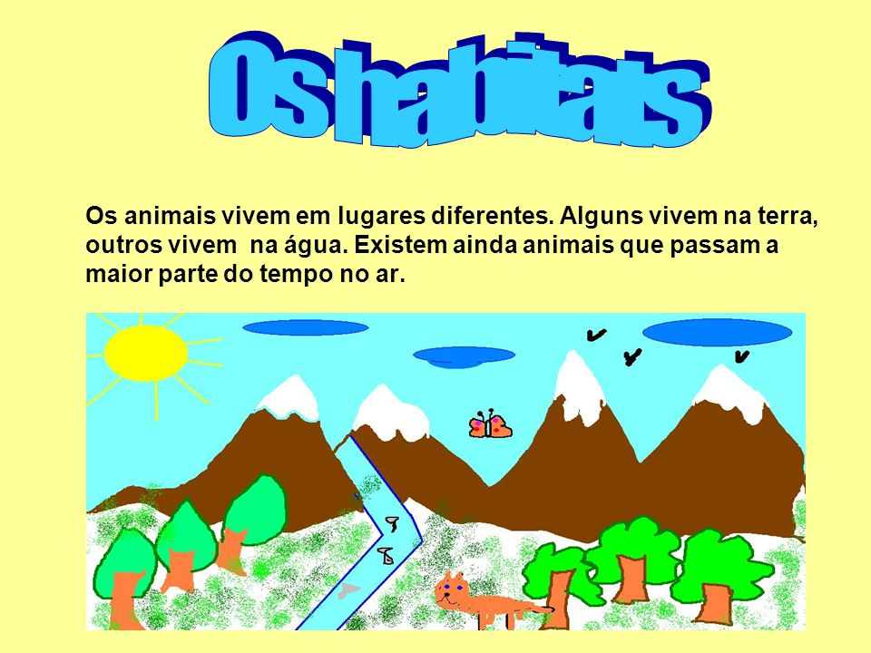 Os animais vivem em lugares diferentes. Alguns vivem na terra, outros vivem na água. Existem ainda animais que passam a maior parte do tempo no ar.