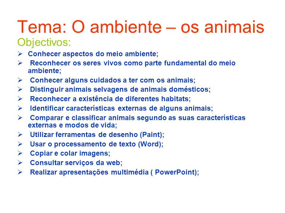 A aula iniciou-se com a leitura, no word, de adivinhas sobre animais.