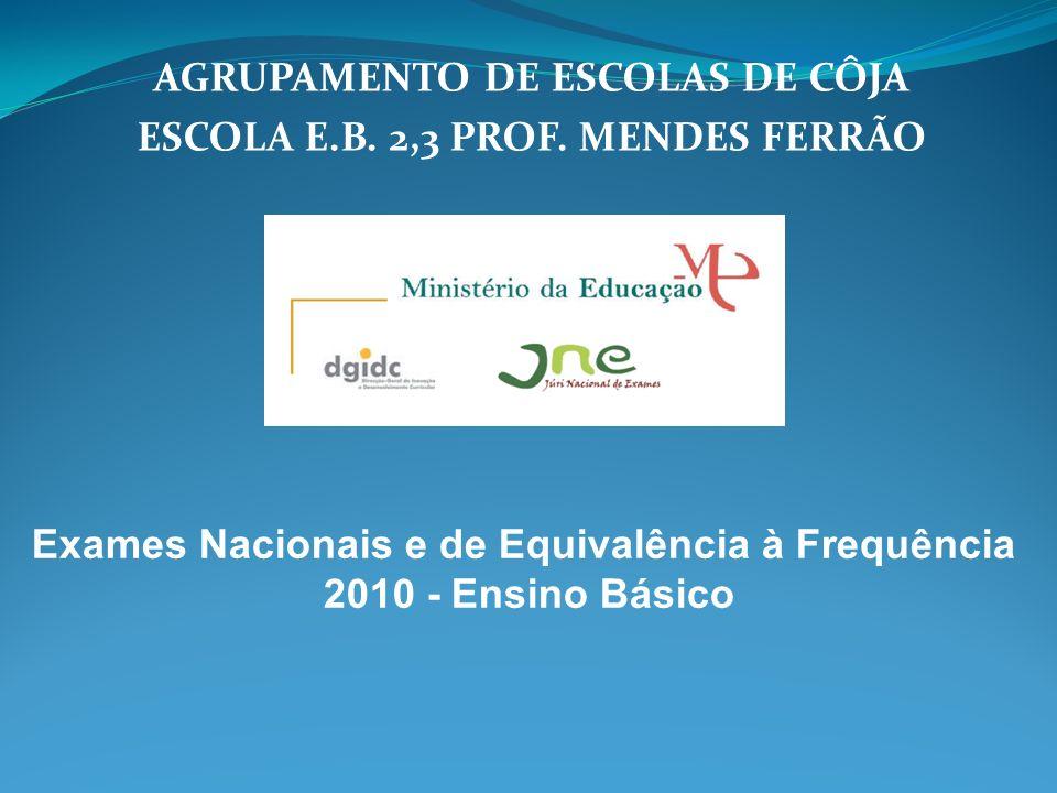 AGRUPAMENTO DE ESCOLAS DE CÔJA ESCOLA E.B. 2,3 PROF. MENDES FERRÃO Exames Nacionais e de Equivalência à Frequência 2010 - Ensino Básico