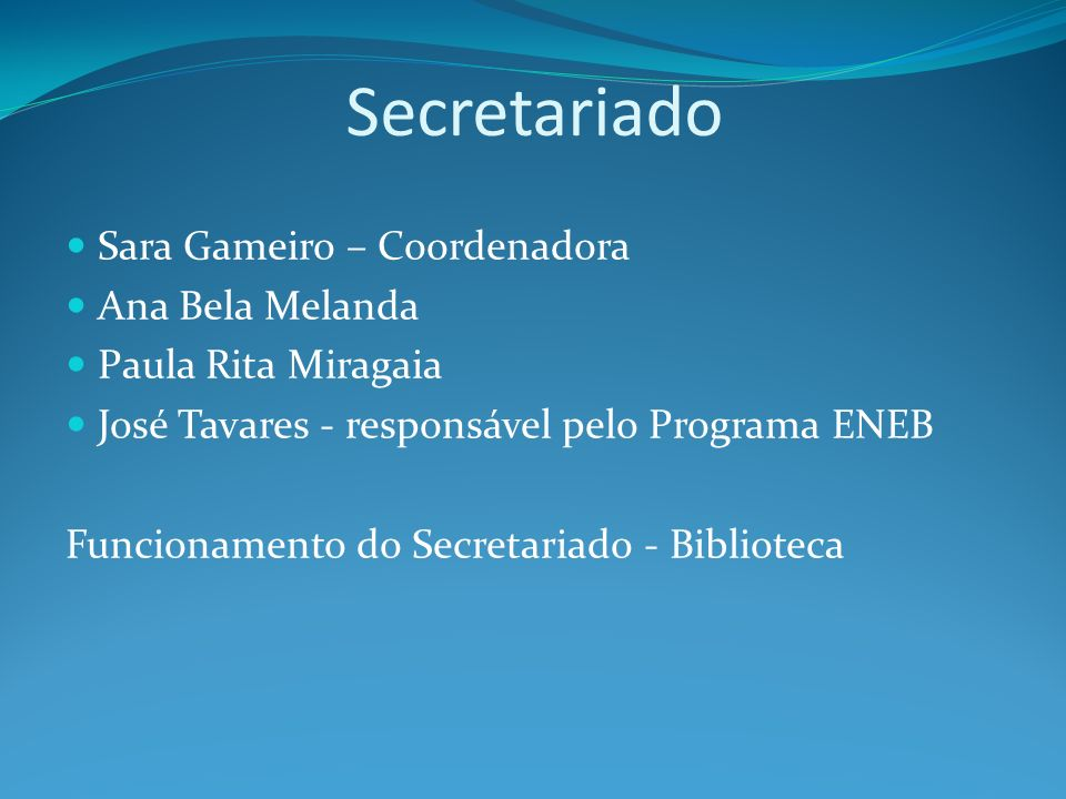 Secretariado Sara Gameiro – Coordenadora Ana Bela Melanda Paula Rita Miragaia José Tavares - responsável pelo Programa ENEB Funcionamento do Secretari