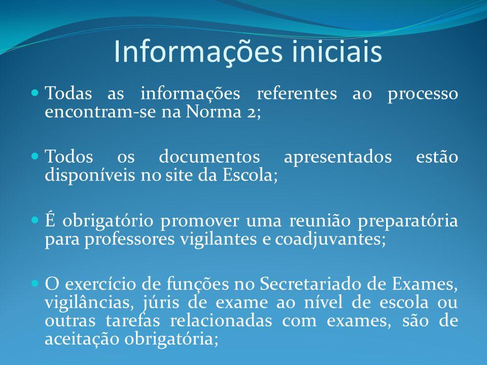 Informações iniciais Todas as informações referentes ao processo encontram-se na Norma 2; Todos os documentos apresentados estão disponíveis no site d