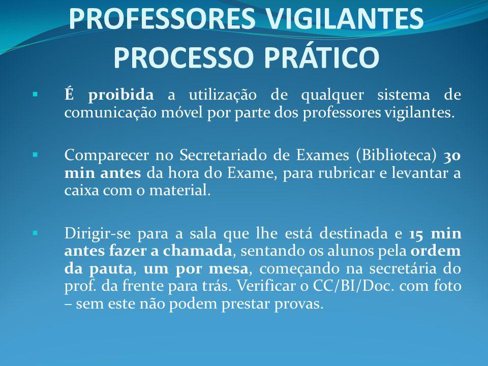 É proibida a utilização de qualquer sistema de comunicação móvel por parte dos professores vigilantes. Comparecer no Secretariado de Exames (Bibliotec