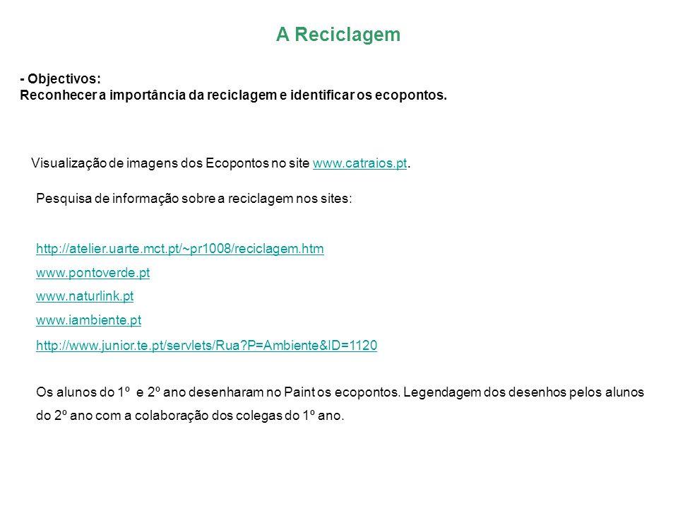 - Objectivos: Reconhecer a importância da reciclagem e identificar os ecopontos. Visualização de imagens dos Ecopontos no site www.catraios.pt.www.cat