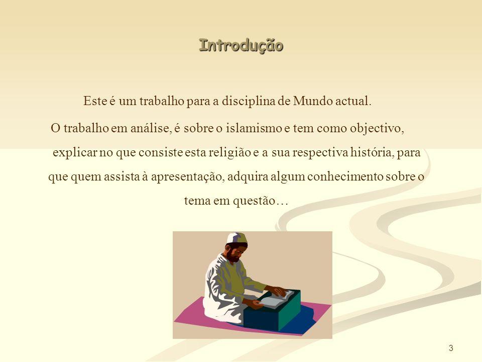 2 Índice Introdução ----------------------------------------------------3 A religião Islâmica -------------------------------------------4 Profeta Maomé -----------------------------------------------5 Conversão -----------------------------------------------------6 Crenças ---------------------------------------------------------7 Cinco pilares ------------------------------------------------8/9 Corão ----------------------------------------------------------10 Sharia ---------------------------------------------------------11 Mesquitas -----------------------------------------------------12 Grupos --------------------------------------------------------13 Conclusão -------------------------------------------14 AFP
