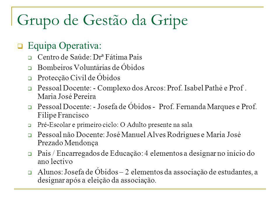 Grupo de Gestão da Gripe Equipa Operativa: Centro de Saúde: Drª Fátima Pais Bombeiros Voluntárias de Óbidos Protecção Civil de Óbidos Pessoal Docente: