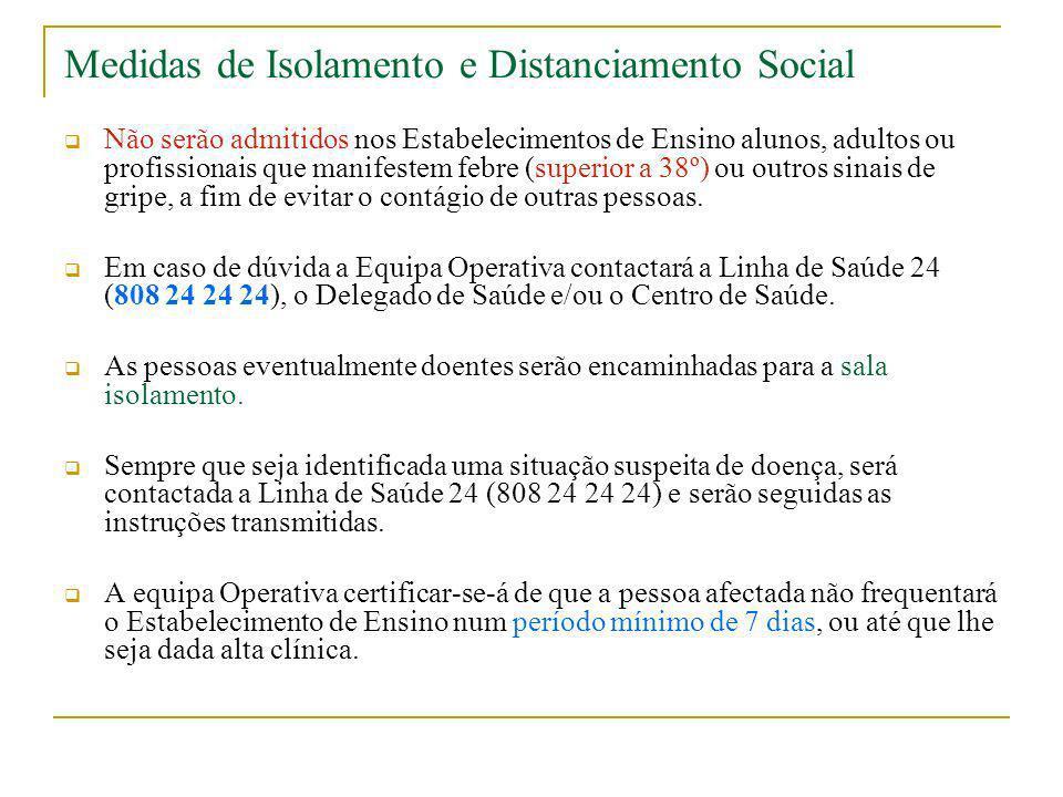Medidas de Isolamento e Distanciamento Social Não serão admitidos nos Estabelecimentos de Ensino alunos, adultos ou profissionais que manifestem febre