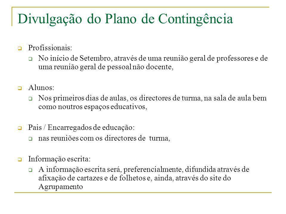 Divulgação do Plano de Contingência Profissionais: No início de Setembro, através de uma reunião geral de professores e de uma reunião geral de pessoa
