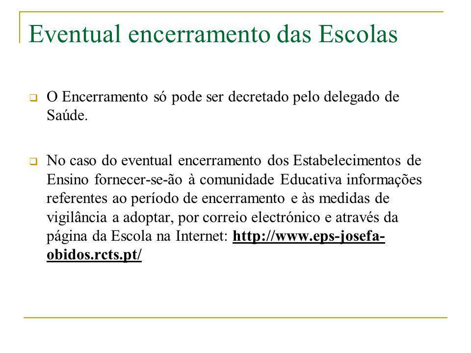 Eventual encerramento das Escolas O Encerramento só pode ser decretado pelo delegado de Saúde. No caso do eventual encerramento dos Estabelecimentos d