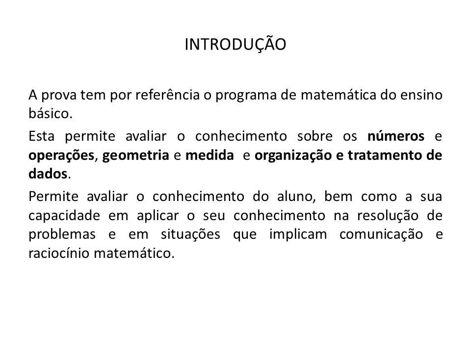 INTRODUÇÃO A prova tem por referência o programa de matemática do ensino básico.