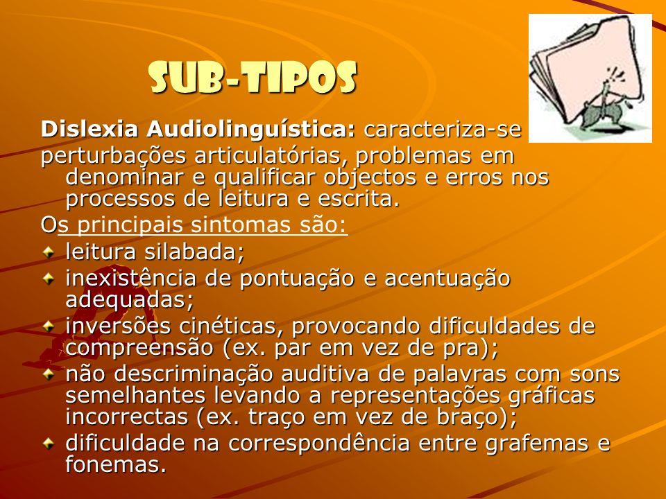Sub-Tipos Dislexia Audiolinguística: caracteriza-se por perturbações articulatórias, problemas em denominar e qualificar objectos e erros nos processo