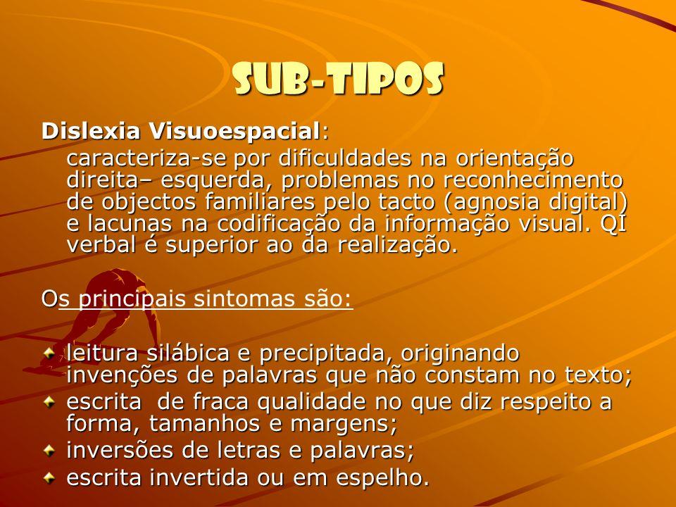 Sub-tipos Dislexia Visuoespacial: caracteriza-se por dificuldades na orientação direita– esquerda, problemas no reconhecimento de objectos familiares