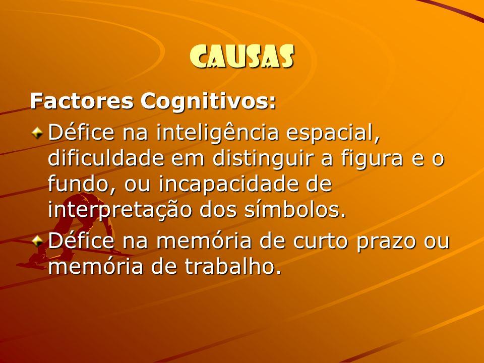 Causas Factores Cognitivos: Défice na inteligência espacial, dificuldade em distinguir a figura e o fundo, ou incapacidade de interpretação dos símbol