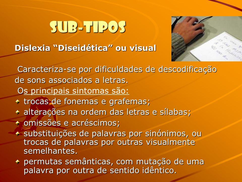 Sub-tipos Dislexia Aléxica (dislexia visuoauditiva): caracteriza-se principalmente por deficiência na leitura, não atingindo a capacidade de escrita.