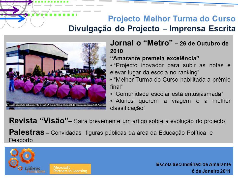 Projecto Melhor Turma do Curso Resultados do 1º Período – Ensino Básico Escola Secundária/3 de Amarante 6 de Janeiro 2011