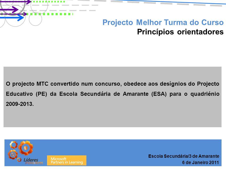 Escola Secundária/3 de Amarante 6 de Janeiro 2011 Projecto Melhor Turma do Curso Princípios orientadores O projecto MTC convertido num concurso, obedece aos desígnios do Projecto Educativo (PE) da Escola Secundária de Amarante (ESA) para o quadriénio 2009-2013.