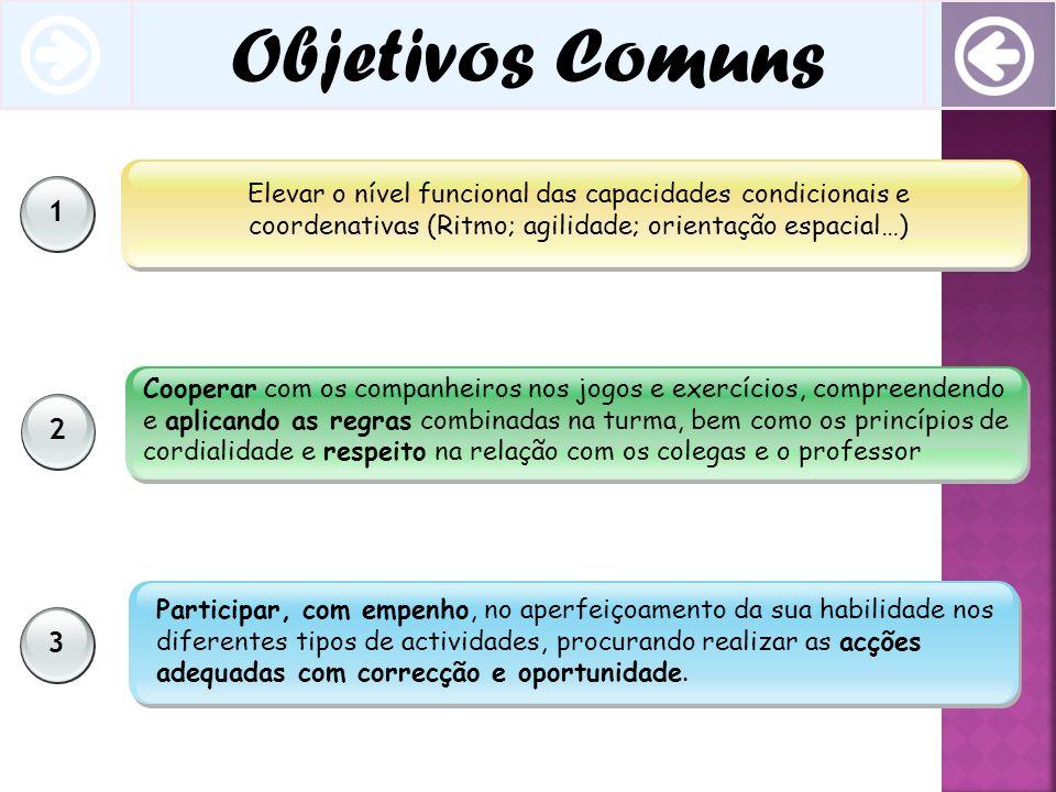 2 3 1 Elevar o nível funcional das capacidades condicionais e coordenativas (Ritmo; agilidade; orientação espacial…) Cooperar com os companheiros nos