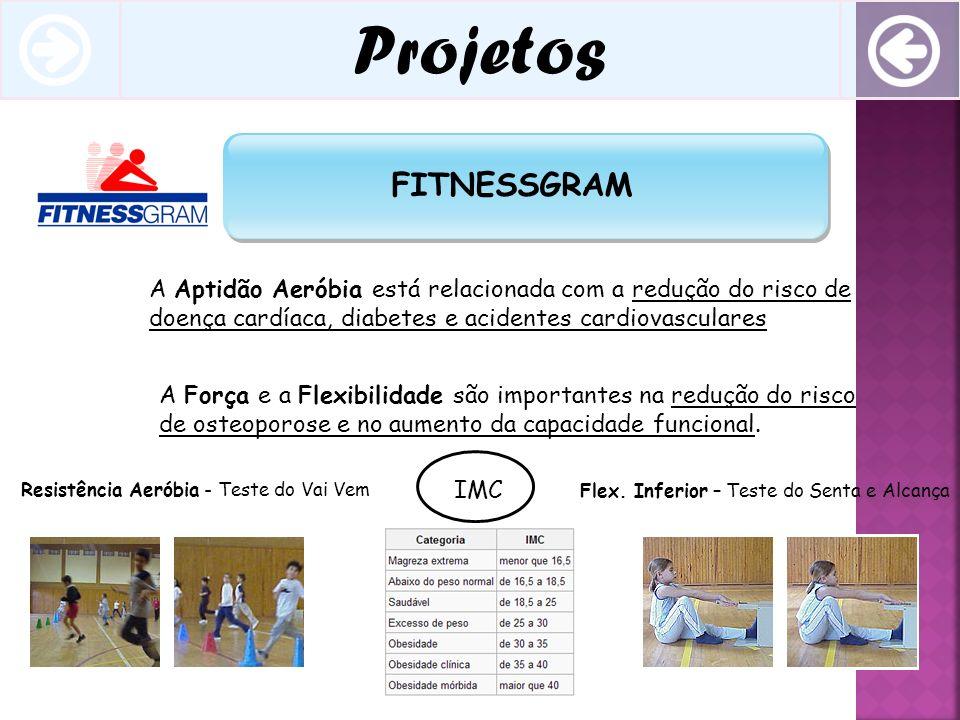 Projetos FITNESSGRAM A Aptidão Aeróbia está relacionada com a redução do risco de doença cardíaca, diabetes e acidentes cardiovasculares A Força e a F