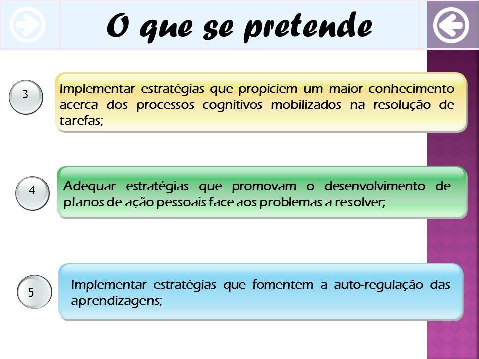 O que se pretende 34 5 Implementar estratégias que propiciem um maior conhecimento acerca dos processos cognitivos mobilizados na resolução de tarefas