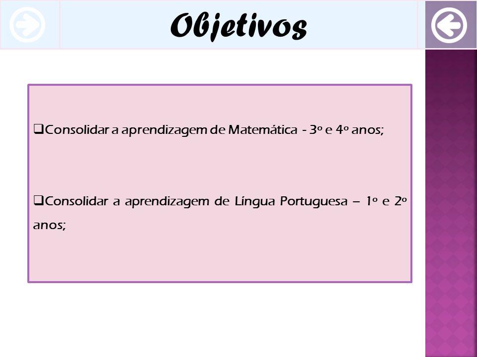 Objetivos Consolidar a aprendizagem de Matemática - 3º e 4º anos; Consolidar a aprendizagem de Língua Portuguesa – 1º e 2º anos;