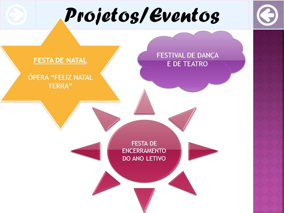 Projetos/Eventos FESTA DE NATAL ÓPERA FELIZ NATAL TERRA FESTA DE NATAL ÓPERA FELIZ NATAL TERRA FESTA DE ENCERRAMENTO DO ANO LETIVO FESTIVAL DE DANÇA E