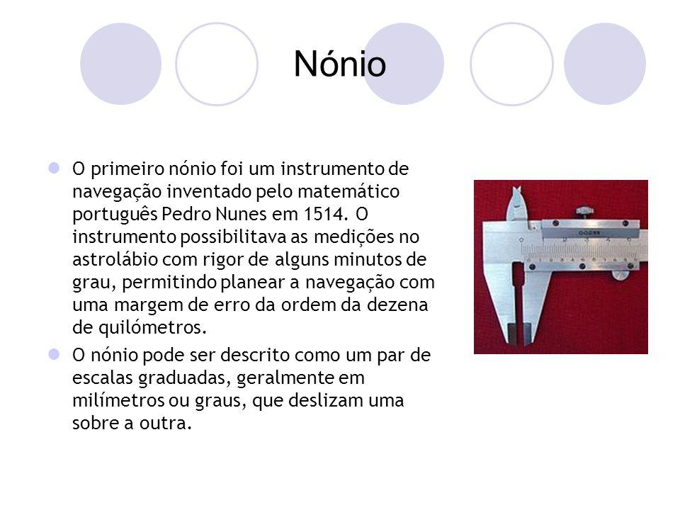 Nónio O primeiro nónio foi um instrumento de navegação inventado pelo matemático português Pedro Nunes em 1514.
