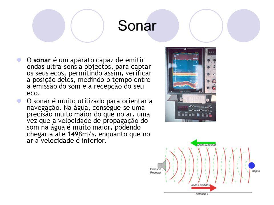 Sonar O sonar é um aparato capaz de emitir ondas ultra-sons a objectos, para captar os seus ecos, permitindo assim, verificar a posição deles, medindo o tempo entre a emissão do som e a recepção do seu eco.