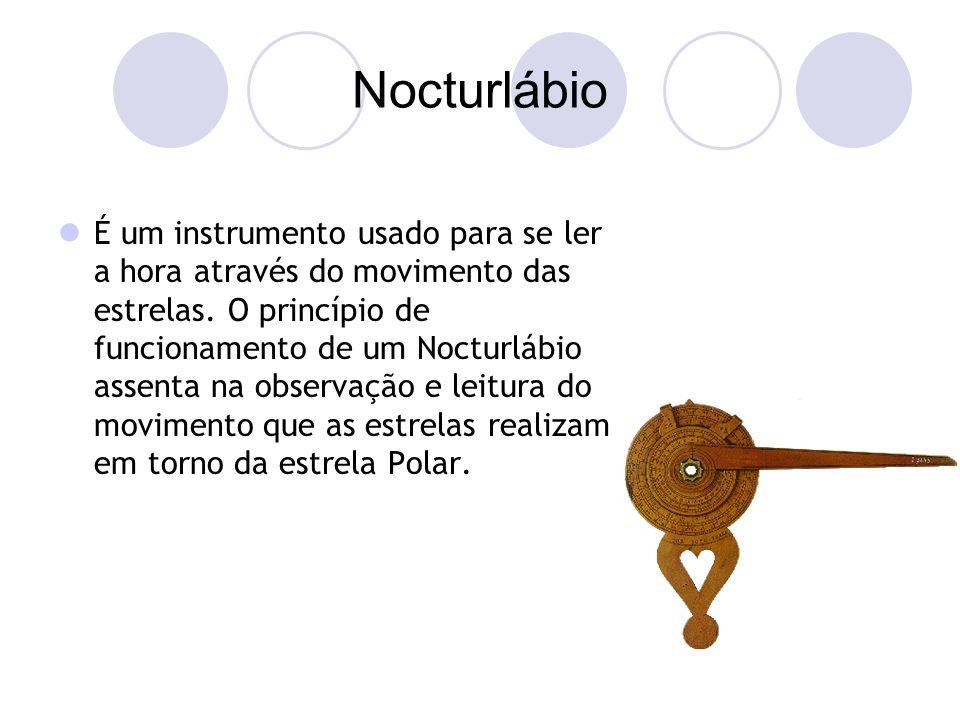 Nocturlábio É um instrumento usado para se ler a hora através do movimento das estrelas.