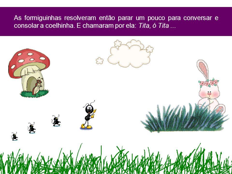 As formiguinhas resolveram então parar um pouco para conversar e consolar a coelhinha. E chamaram por ela: Tita, ó Tita...
