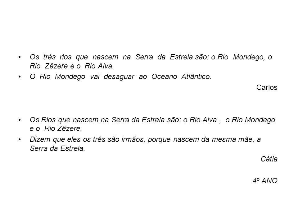 Os três rios que nascem na Serra da Estrela são: o Rio Mondego, o Rio Zêzere e o Rio Alva.