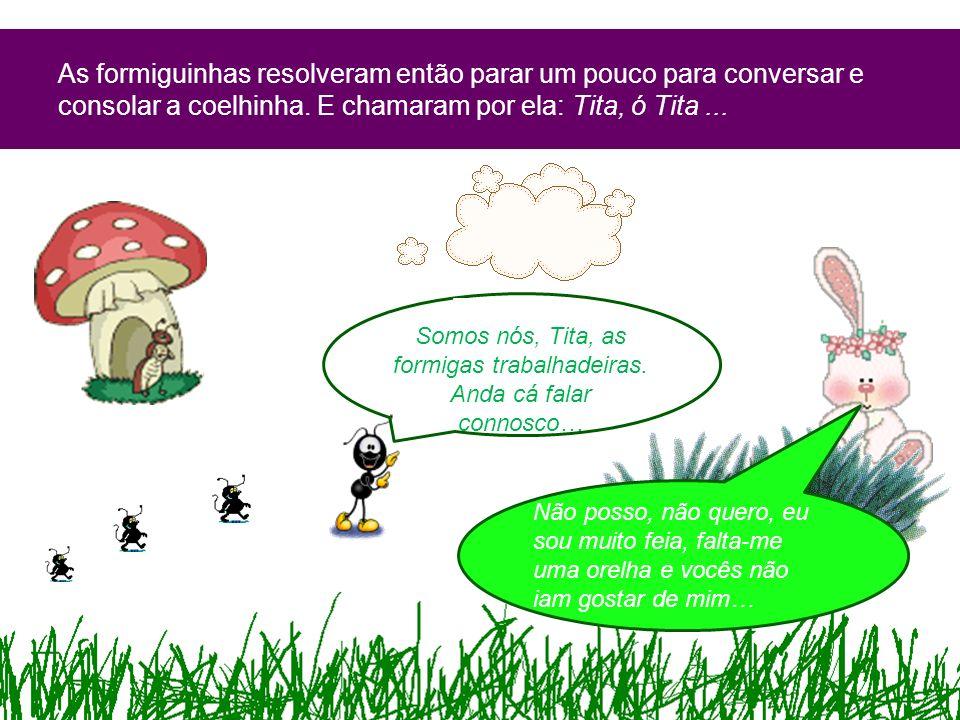 As formiguinhas resolveram então parar um pouco para conversar e consolar a coelhinha. E chamaram por ela: Tita, ó Tita... Tita, ó Tita… Somos nós, Ti