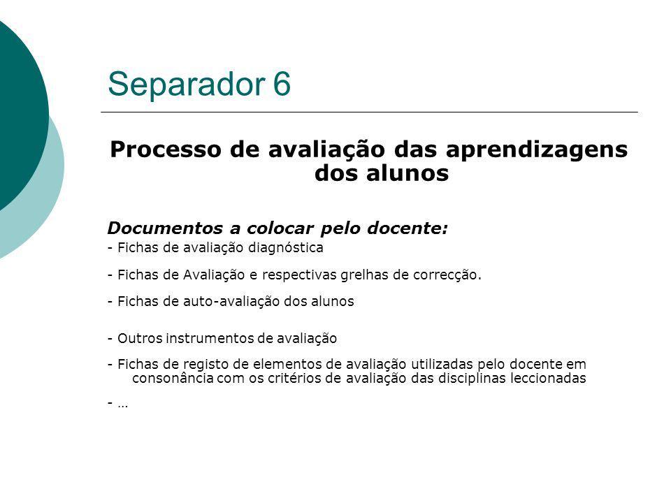 Separador 6 Processo de avaliação das aprendizagens dos alunos Documentos a colocar pelo docente: - Fichas de avaliação diagnóstica - Fichas de Avalia