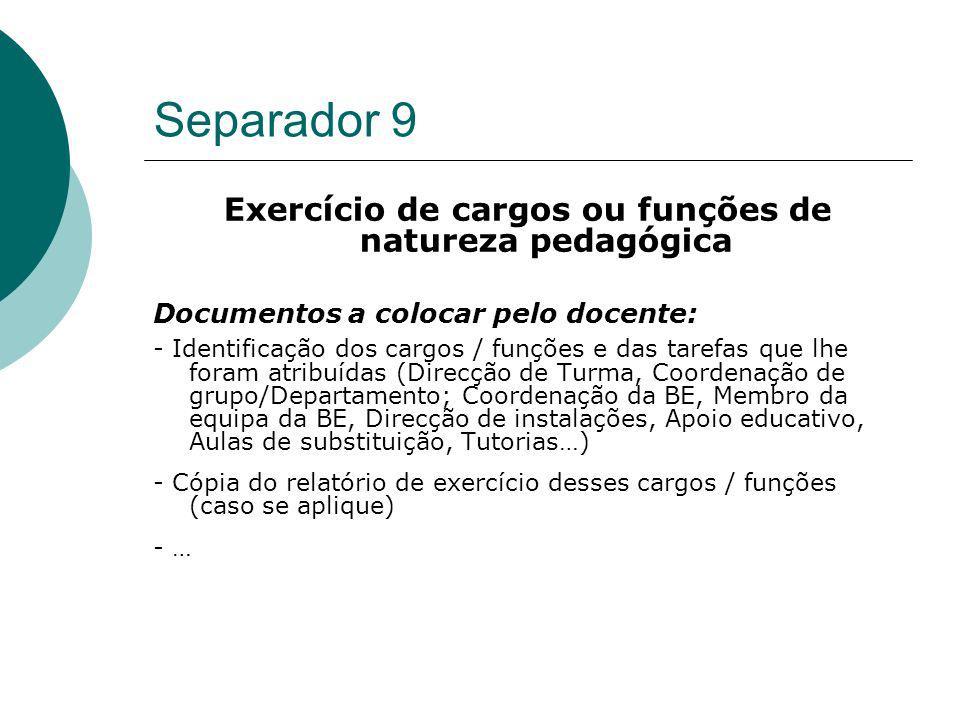 Separador 9 Exercício de cargos ou funções de natureza pedagógica Documentos a colocar pelo docente: - Identificação dos cargos / funções e das tarefa