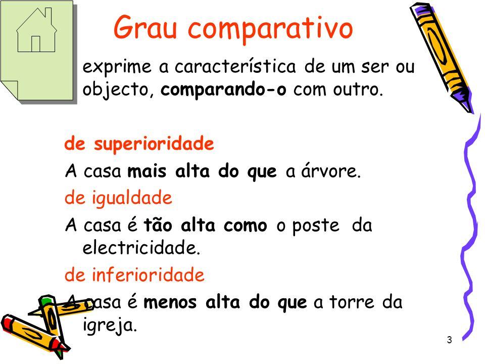 3 Grau comparativo exprime a característica de um ser ou objecto, comparando-o com outro. de superioridade A casa mais alta do que a árvore. de iguald