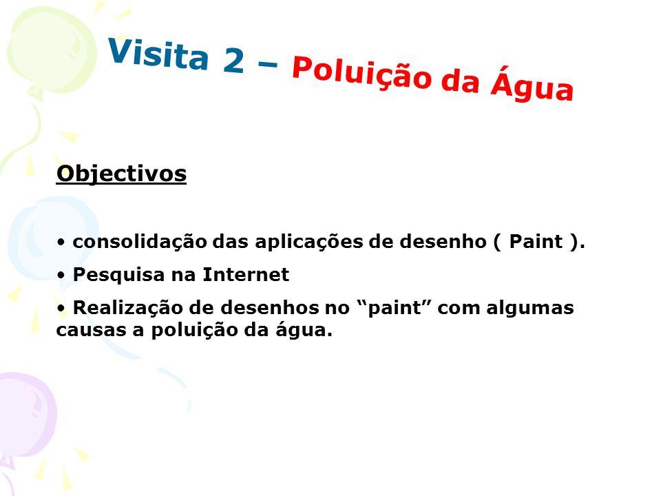Visita 2 – Poluição da Água Objectivos consolidação das aplicações de desenho ( Paint ). Pesquisa na Internet Realização de desenhos no paint com algu