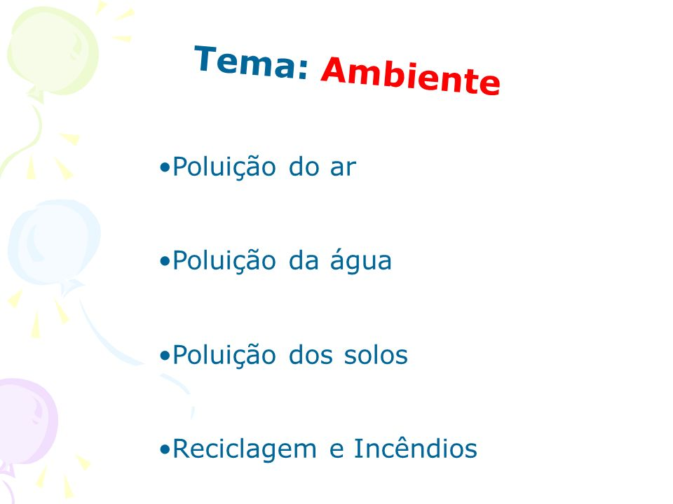 Tema: Ambiente Poluição do ar Poluição da água Poluição dos solos Reciclagem e Incêndios