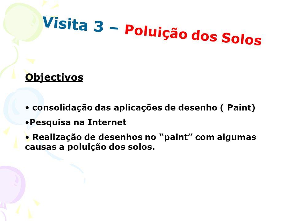 Visita 3 – Poluição dos Solos Objectivos consolidação das aplicações de desenho ( Paint) Pesquisa na Internet Realização de desenhos no paint com algu
