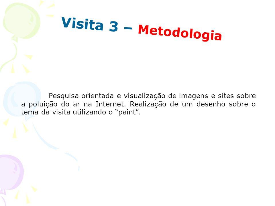 Visita 3 – Metodologia Pesquisa orientada e visualização de imagens e sites sobre a poluição do ar na Internet. Realização de um desenho sobre o tema