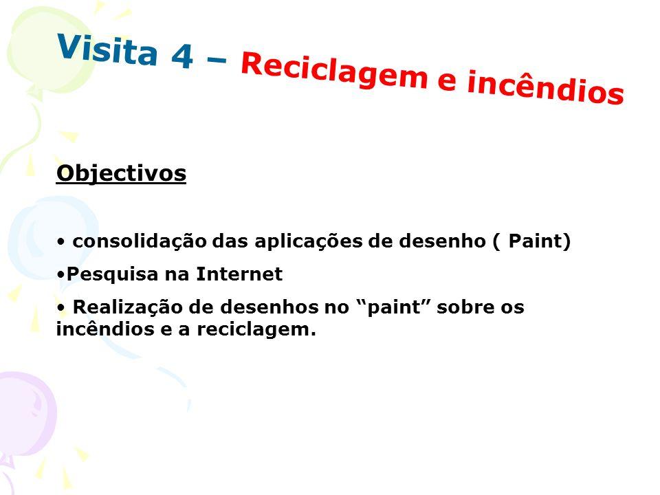 Visita 4 – Reciclagem e incêndios Objectivos consolidação das aplicações de desenho ( Paint) Pesquisa na Internet Realização de desenhos no paint sobr