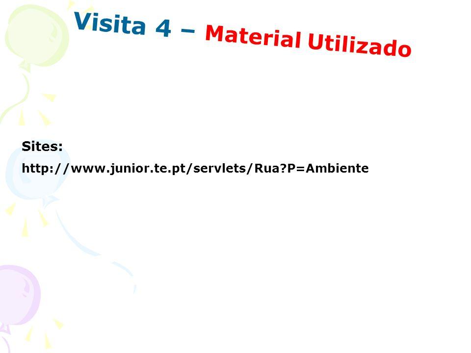 Visita 4 – Material Utilizado Sites: http://www.junior.te.pt/servlets/Rua?P=Ambiente