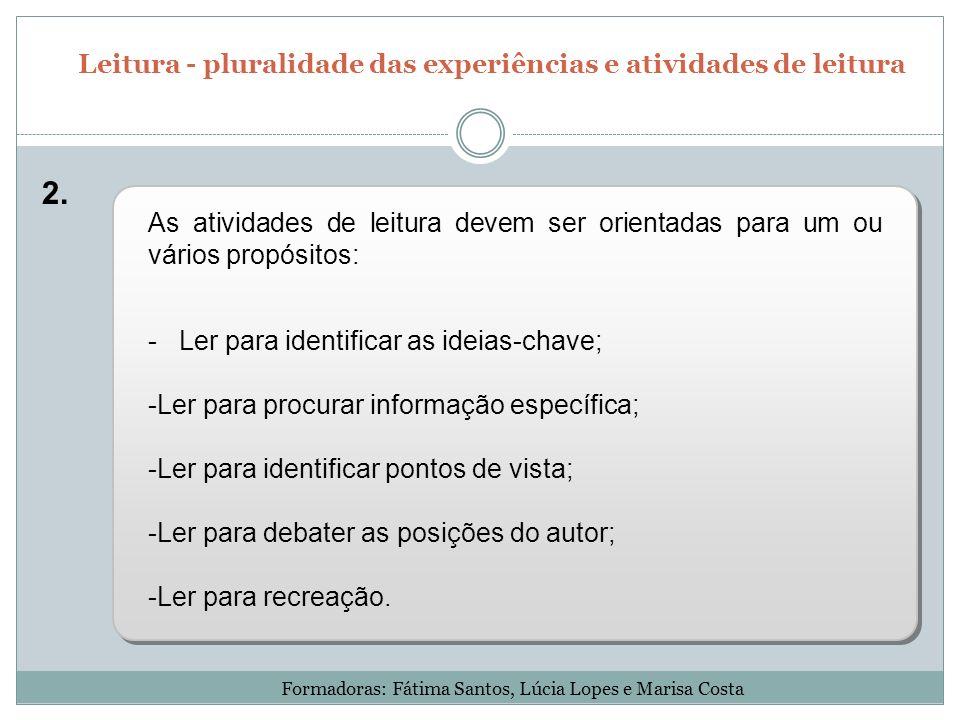 As atividades de leitura devem ser orientadas para um ou vários propósitos: - Ler para identificar as ideias-chave; -Ler para procurar informação espe