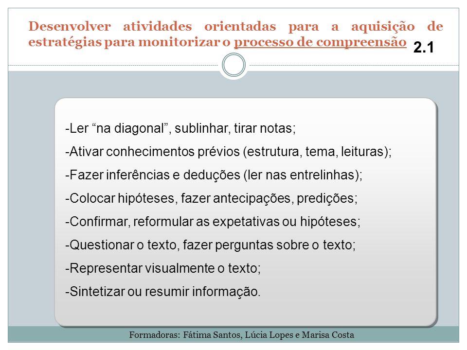 -Ler na diagonal, sublinhar, tirar notas; -Ativar conhecimentos prévios (estrutura, tema, leituras); -Fazer inferências e deduções (ler nas entrelinha