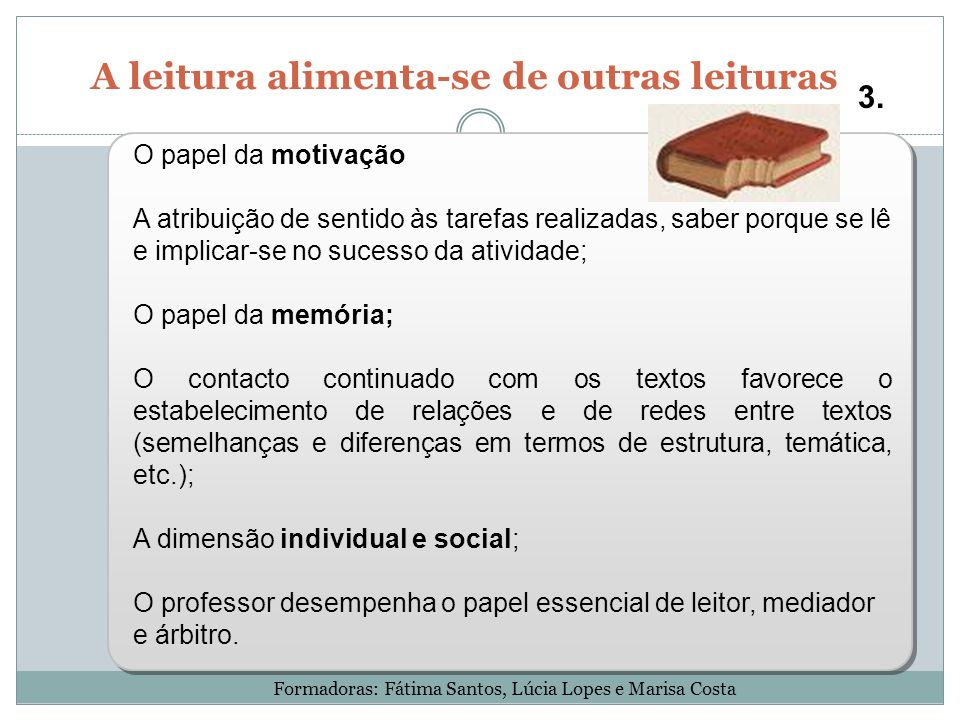 A leitura alimenta-se de outras leituras 3. O papel da motivação A atribuição de sentido às tarefas realizadas, saber porque se lê e implicar-se no su