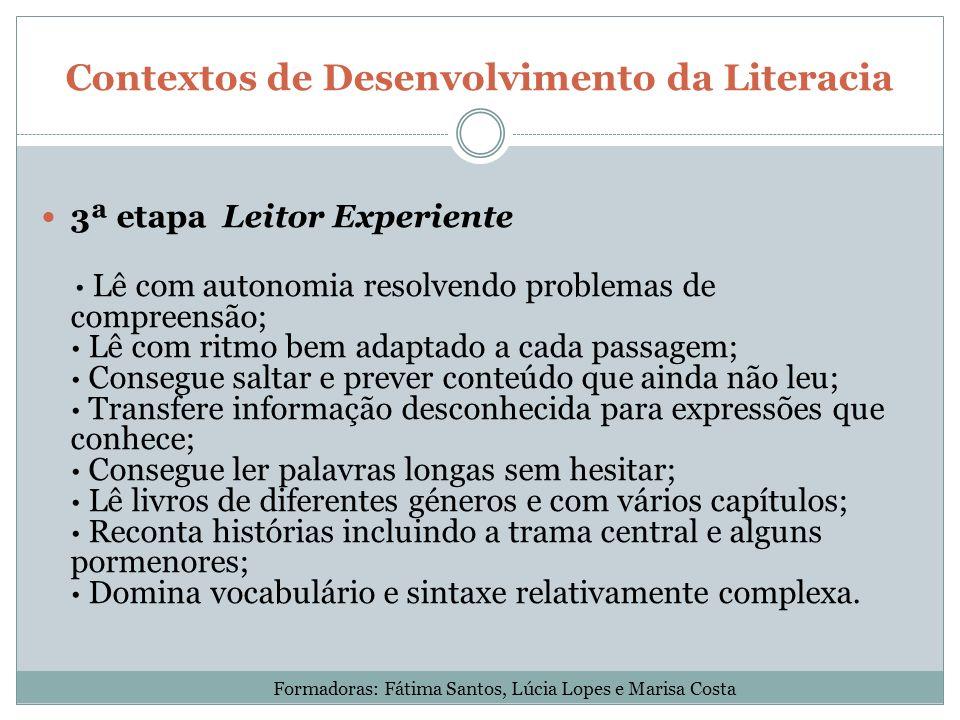 Contextos de Desenvolvimento da Literacia 3ª etapa Leitor Experiente · Lê com autonomia resolvendo problemas de compreensão; · Lê com ritmo bem adapta
